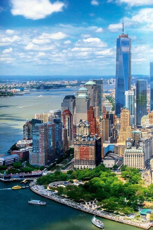 Lower Manhattan, NYC, where the World Trade Center once stood