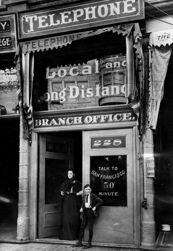 Public phone office, Los Angeles, 1899