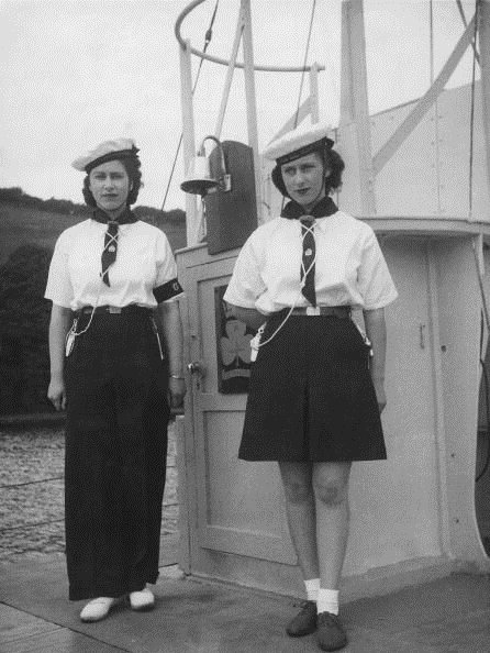 Princess Elizabeth (later QEII) and Princess Margaret in sailors outfits