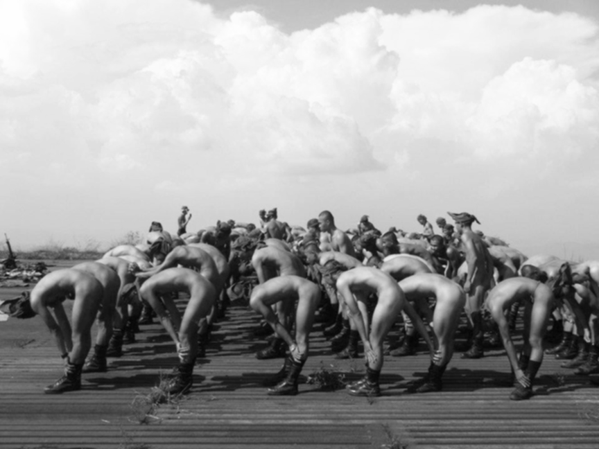 US Sailors doing exercises in the nude on the deck of an aircraft carrier, WWII