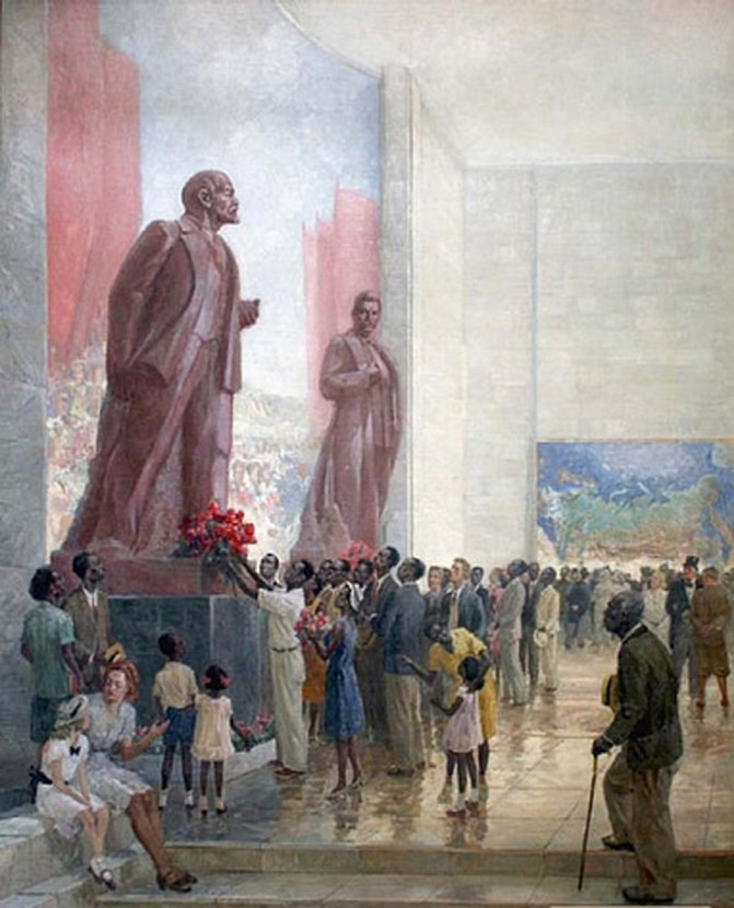 Painting of African-Americans paying tribute to a statue of Lenin at the Soviet pavilion at the 1939 NYC World's Fair (huh?)