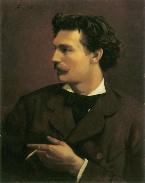 Portrait of a mustachioed man having a smoke