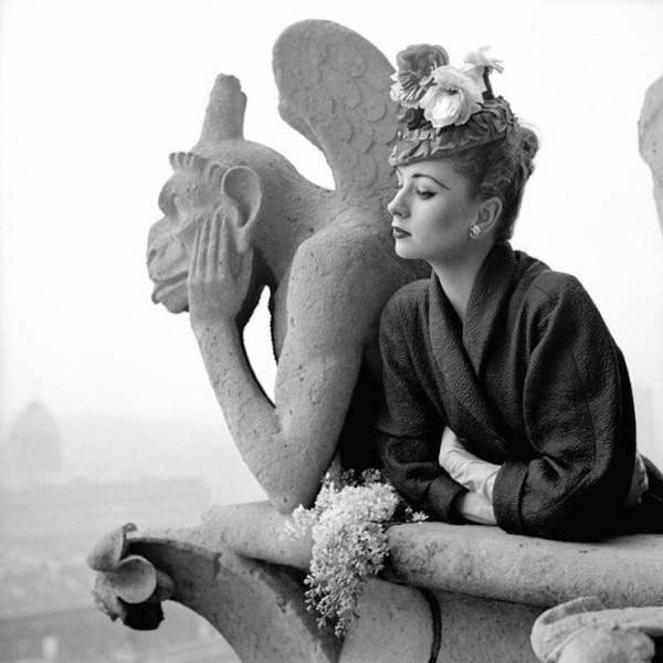 1950s supermodel Suzy Parker atop Notre Dame, Paris, 1951, by Richard Avedon