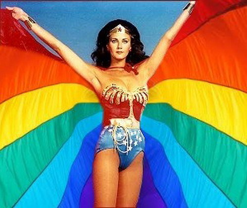 Wonder Woman in her Pride Month cape