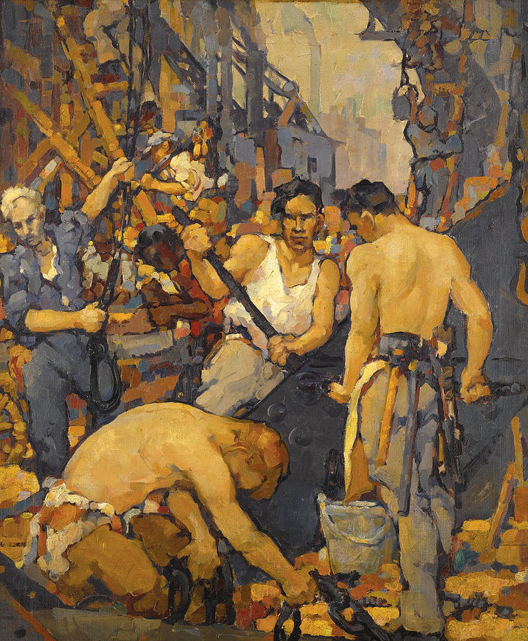Workers, painting by Walt Louderback