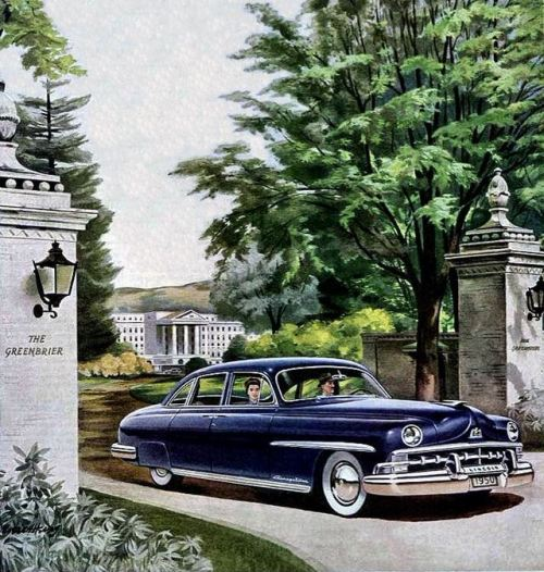 1950 Lincoln ad, pictured leaving The Greenbrier Resort in West Virginia