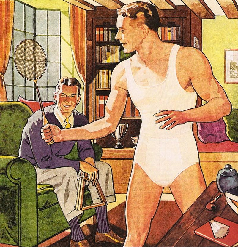 Underwear ad illustration,1930s