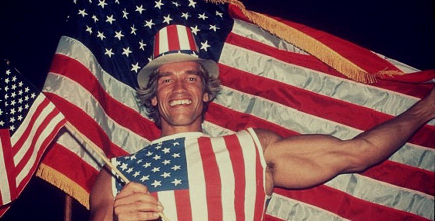 Arnold Schwarzenegger on the day he became a US citizen