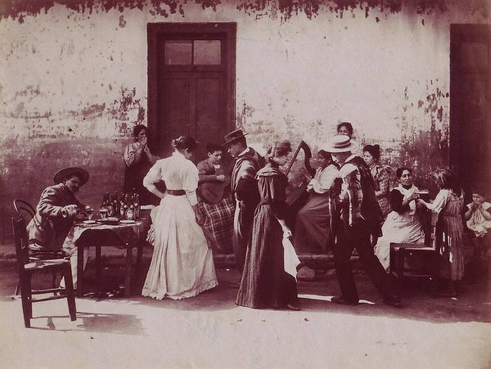 Dancing in the street, Chile, 1800s
