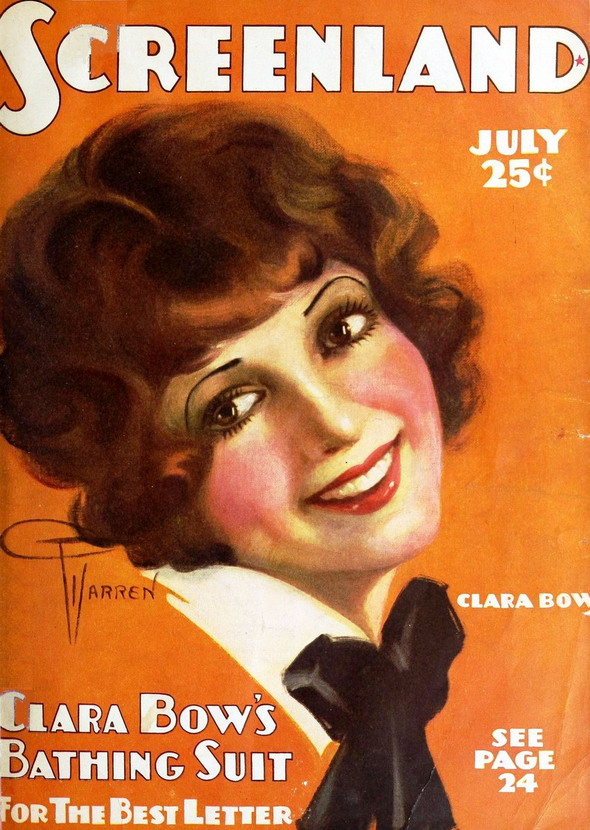 Silent film star Clara Bow on the cover of 'Screenland'