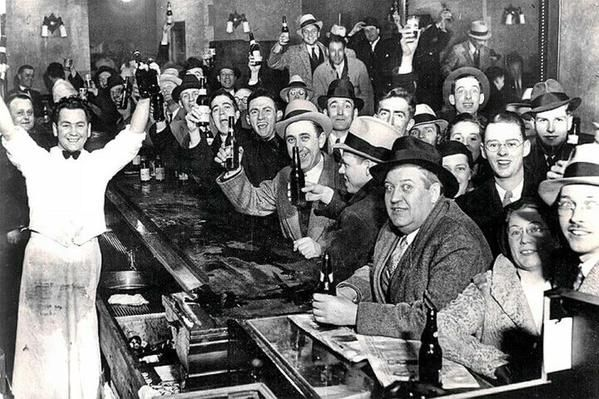 Celebrating the end of Prohibition (no alcohol sales), US, 1933