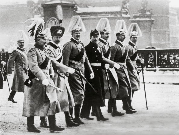 Kaiser Wilhelm II and his six sons marching in the annual silly hat parade, Germany