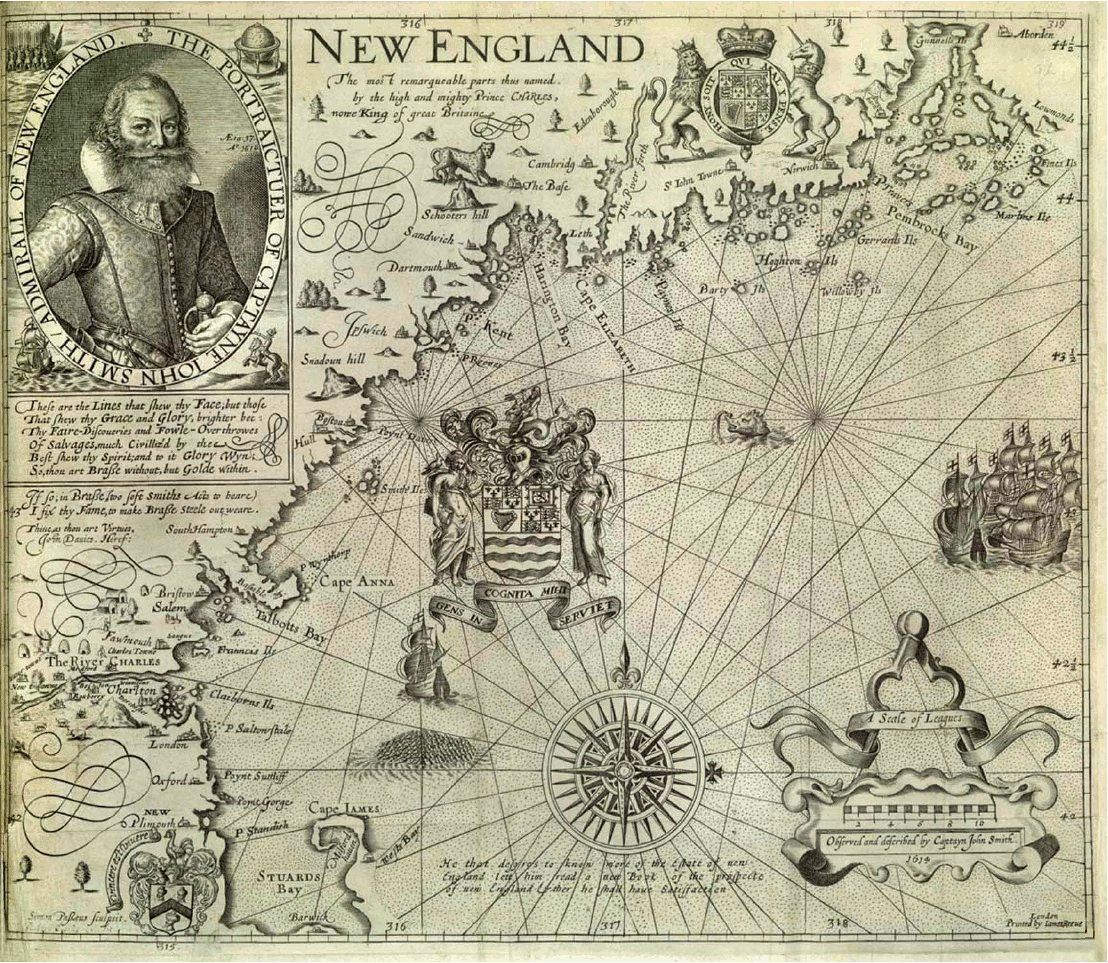 Map of the New England coast by John Smith, 1614
