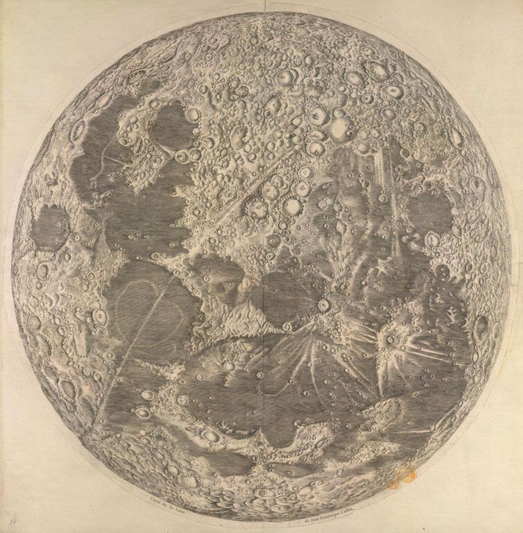 Cassini's map of the moon, 1679