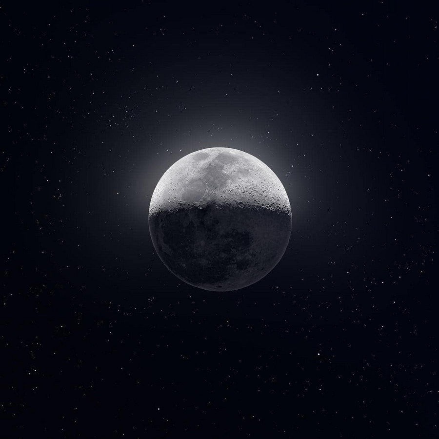 High definition, composite photo of the moon