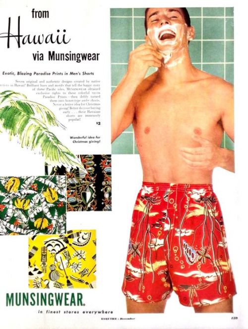 Munsingwear Hawaiian print shorts, circa1960