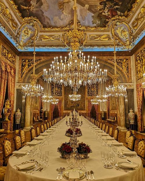 The dining room at the Spanish royal palace in Madrid