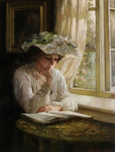 """Lady Reading by a Window"" by Thomas Benjamin Kennington"