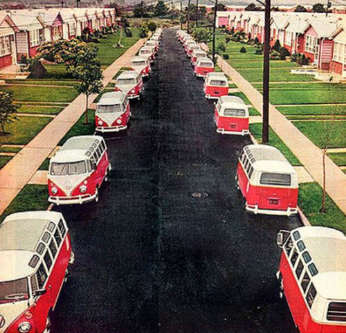 A VW microbus in front of every home, circa1960