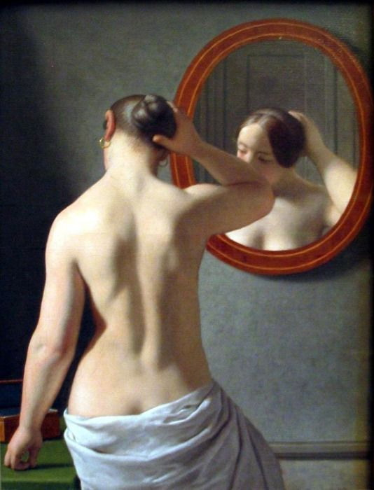 """Woman Standing in Front of a Mirror"" by Chistoffer Wilhelm"