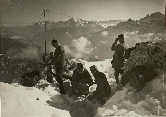 Hungarian soldiers manning a mountain top radio station, WWI