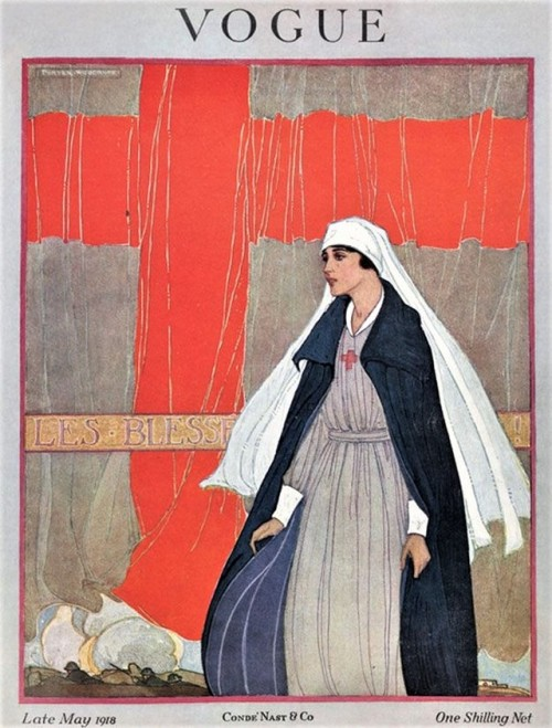 Red Cross nurse on the cover of Vogue, WWI, 1918