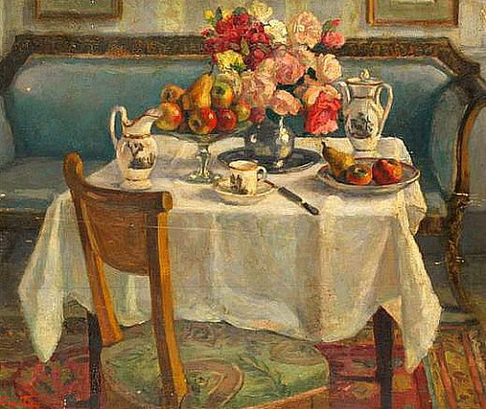 Tea table with fruit and flowers