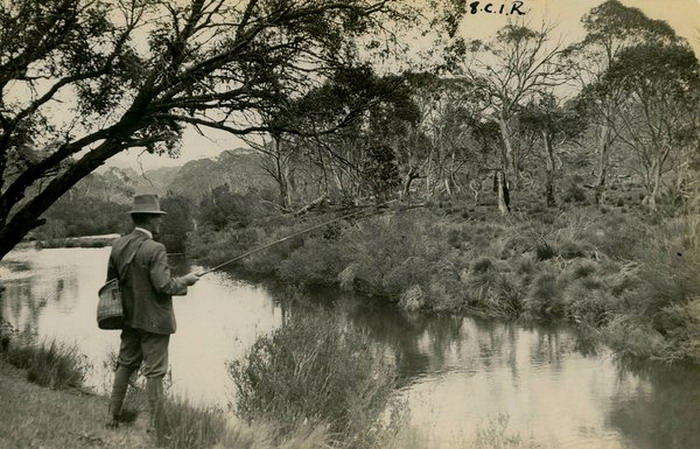 Man fishing, Australia, early 20th century