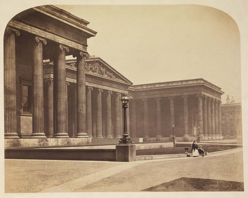 Outside the British Museum, London, 1800s