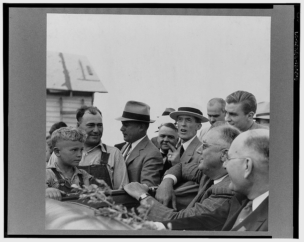 Franklin Delano Roosevelt campaigning for re-election as president,1930s