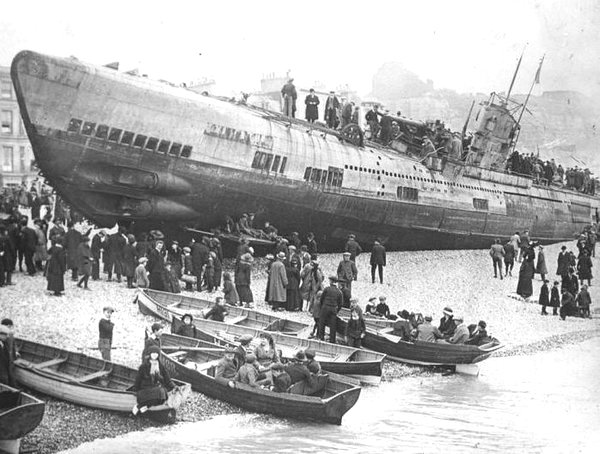 Disabled German submarine beached in England at the end of WWI