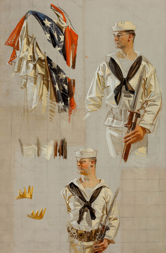 Leyendecker sketches of a sailor, WWI era