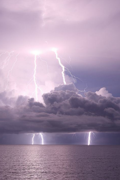 Lightning striking the ocean