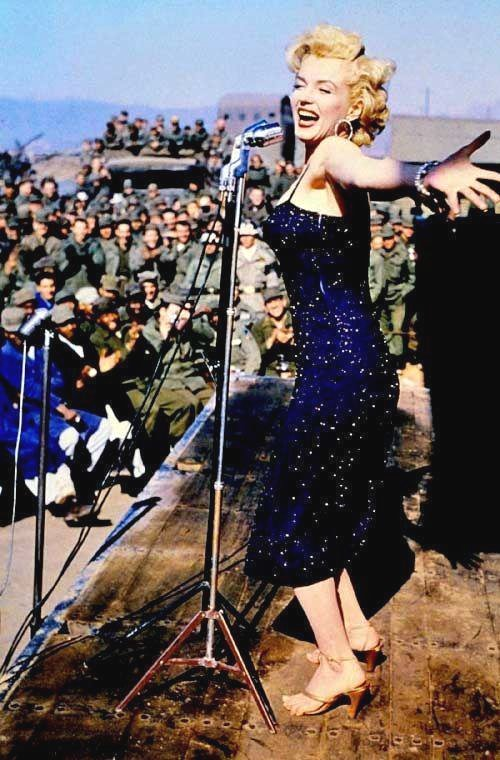 Marilyn Monroe entertaining US troops in Korea during the Korean War, 1950s