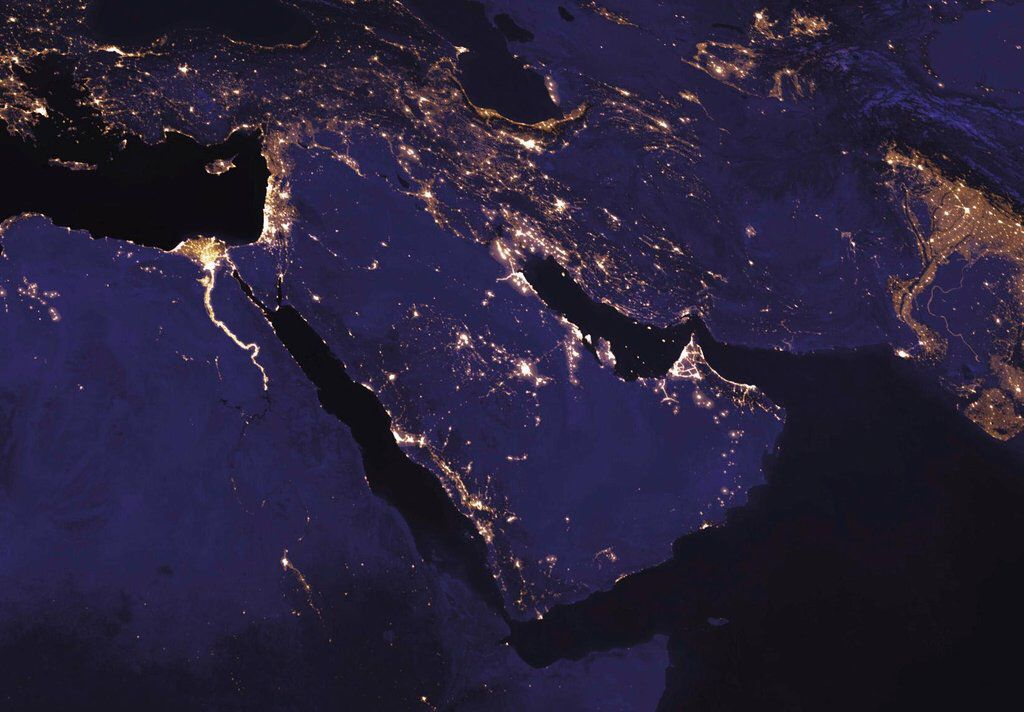 Middle East at night from space
