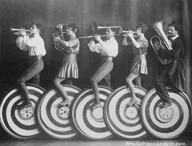Musicians on unicycles