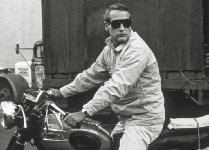 Paul Newman on amotorcycle