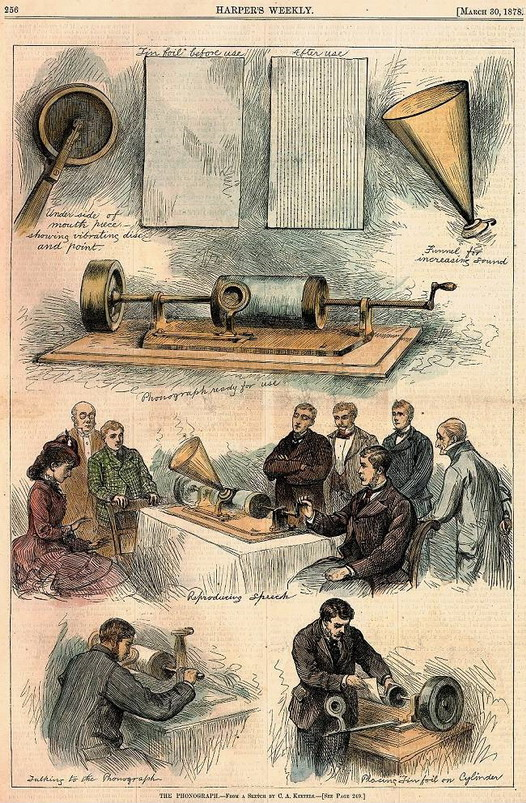 Description of a phonograph works (applying sound to metal and then playing it back), 1878