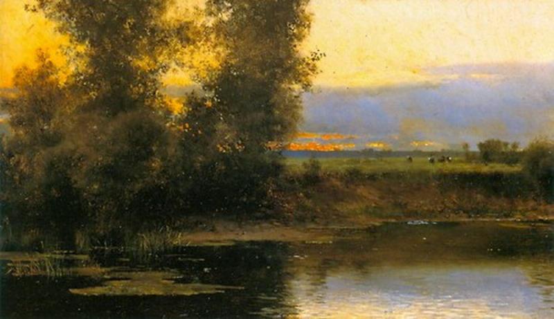 Riverside landscape painting