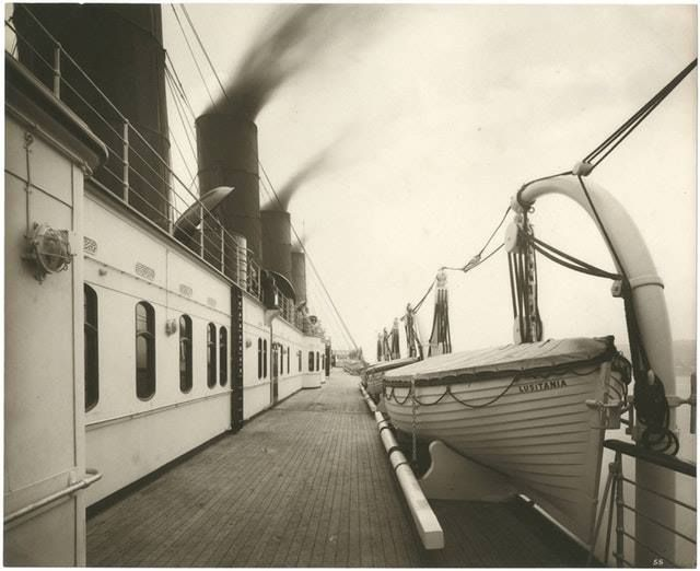 On the deck of the ill-fated Lusitania, 1910s
