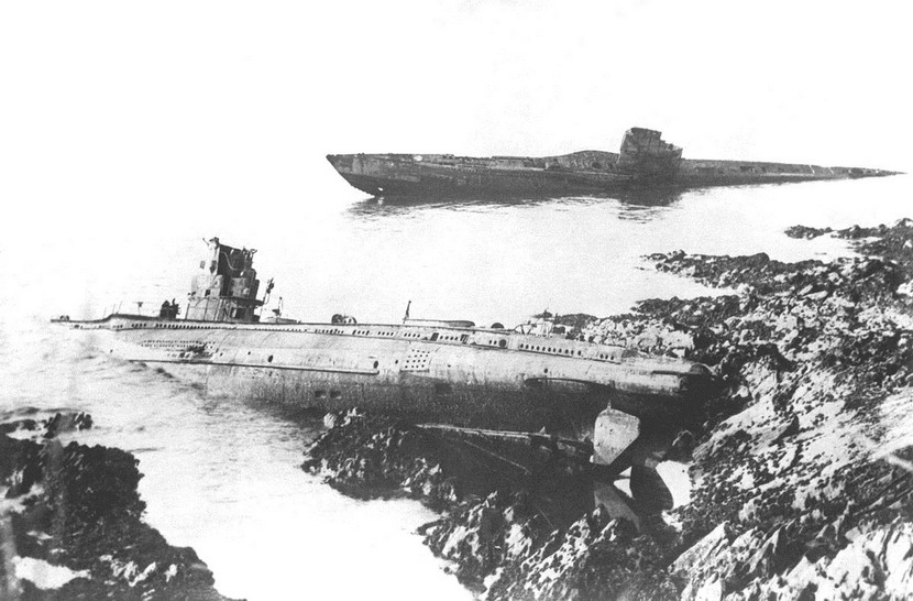 Destroyed German submarines on the rocks after the Battle of Jutland, WWI