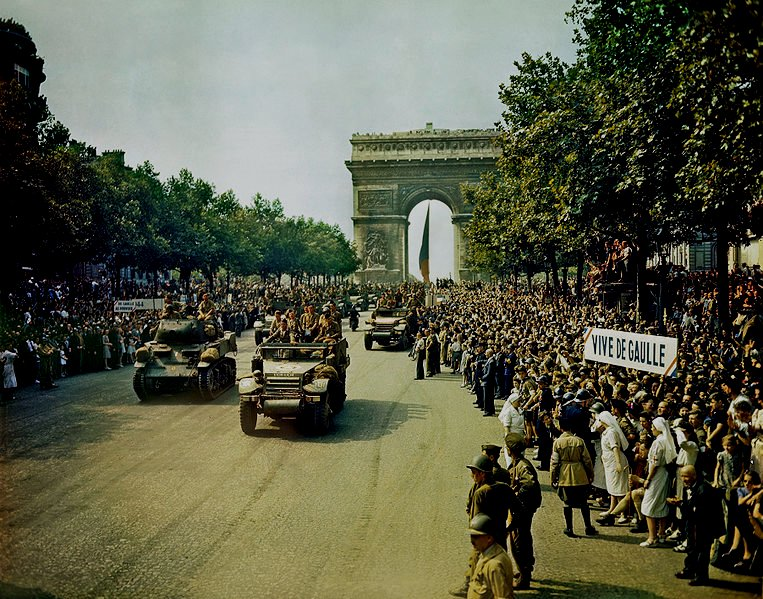 The Liberators Parade on the Champs-Elysees in Paris after the city was liberated from the Nazis, 75 years ago