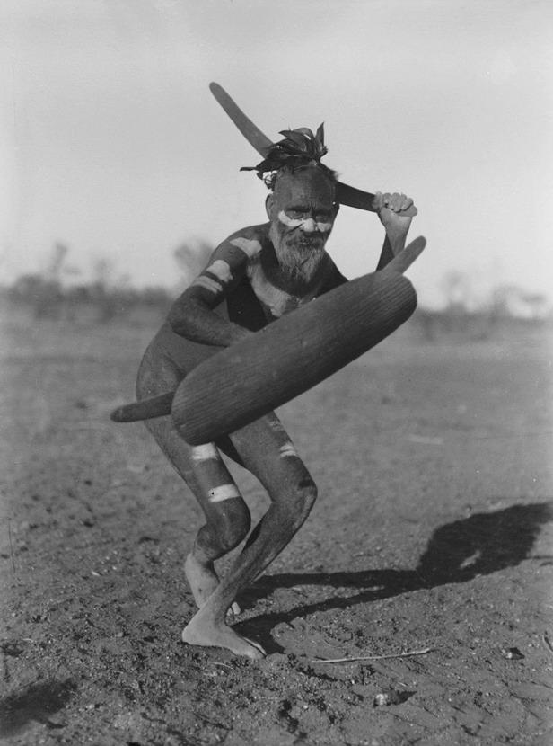 Aborigine with a real boomerang,Australia