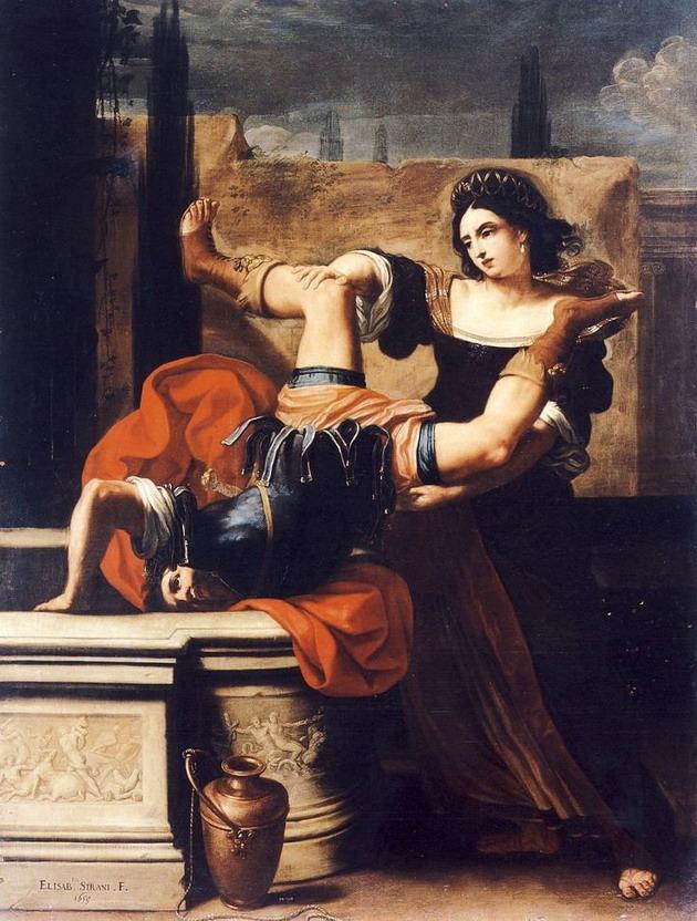 A woman killing her rapist, painting by Elisabetta Sirani,1599