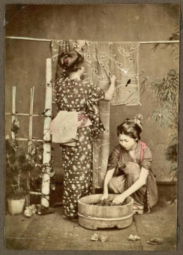 Japanese women washing laundry, late1800s