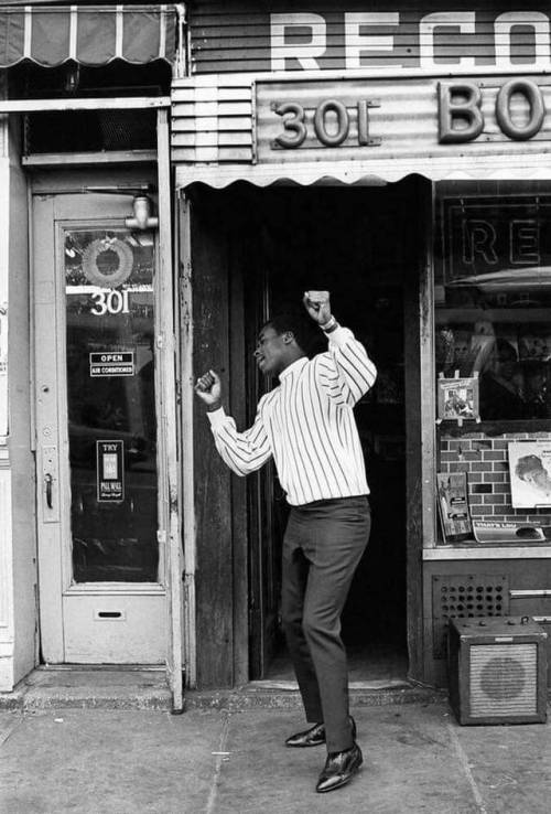 Groovin' outside a record shop, 1960s