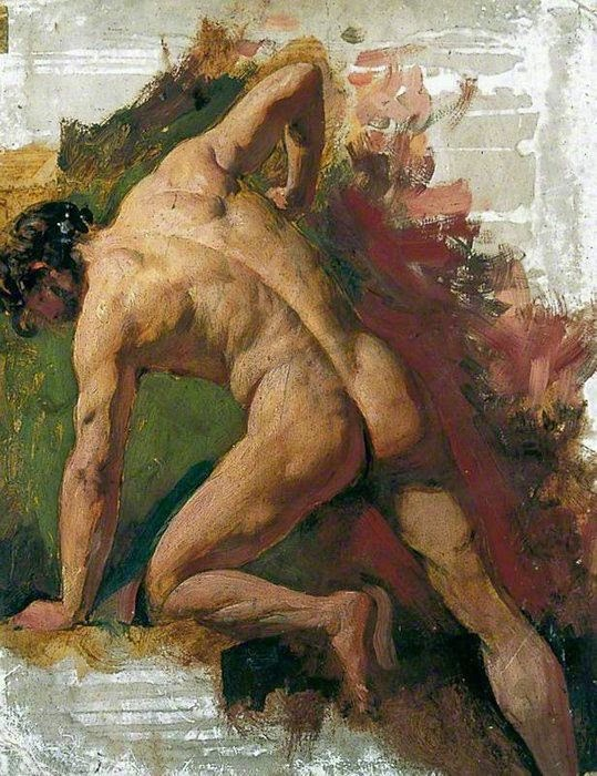 Male nude sawing, by William Etty, early 1800s