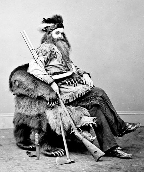 Pioneer/Mountain Man Sitting in a BearChair
