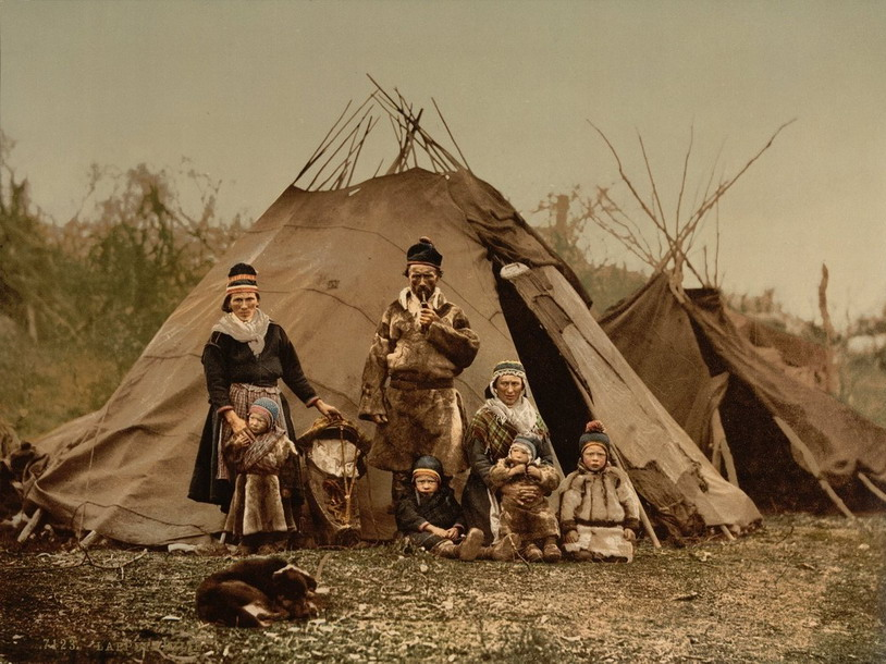 A Sami Family, Finland probably, early 20th century