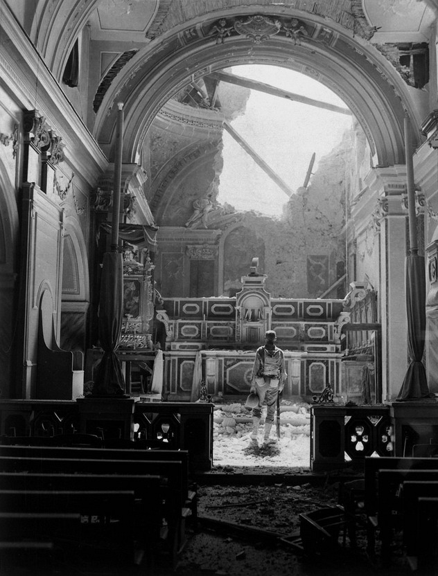 Soldier in a destroyed church,WWII